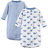 Hudson Baby Baby Long Sleeve Cotton Safe Wearable Sleeping Bag, Whales, One Size