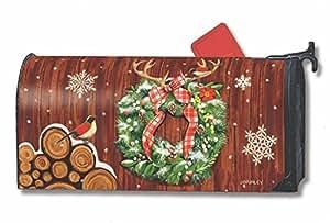MailWraps Cozy Cabin Wreath MailWrap Mailbox Cover