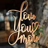 Love You More Wedding Cake Topper Gold Antique Wood Birthday Cake Topper Gift for Her Party Event Decorations