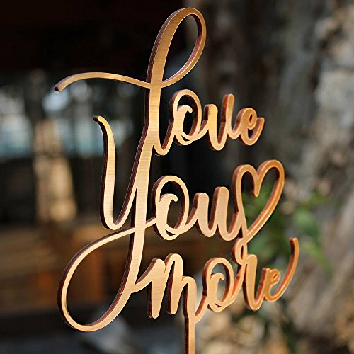 Antique Wedding Cake Toppers - Love You More Wedding Cake Topper Gold Antique Wood Birthday Cake Topper Gift for Her Party Event Decorations