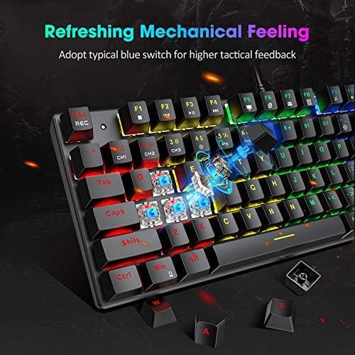 PICTEK TKL Mechanical Gaming Keyboard, RGB LED Rainbow Backlit 60% keyboard with Blue Switches, 27 LED Lighting Modes 87 Keys Keyboard, 100% Anti-Ghosting Tenkeyless Keyboard for Windows PC/MAC Games
