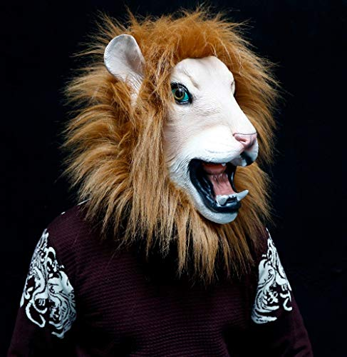 DeemoShop Newly Design Deluxe Quality Realistic Party Dress Adult Latex Rubber Halloween Lion Mask Animal for $<!--$61.76-->