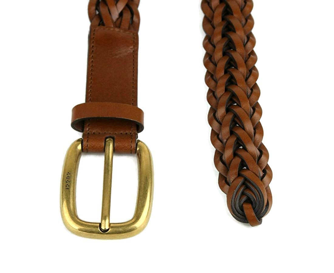 27f4d366f Amazon.com: Gucci Women's Braided Leather Gold Buckle Belt 380606 Brown:  Clothing