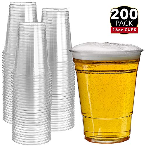 Clear Disposable Cups - 200 Clear Plastic Cups | 16 oz Plastic Cups | Clear Disposable Cups | PET Cups | Plastic Water Cups | Plastic Beer Cups | Clear Plastic Party Cups |Crystal Clear Cups
