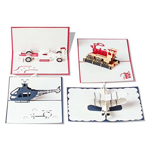 Pop Up Cards Set for Kids. Boys will Love these 3D Christmas or Birthday Cards (4 Pack) (Birthday Cards Unicef)