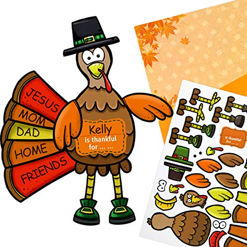 Make-A-Turkey Stickers Cardboard Backgrounds 12 Large Turkeys Kids Thanksgiving Party Crafts