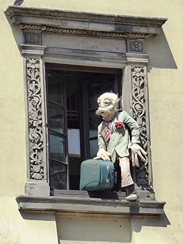 Home Comforts LAMINATED POSTER Window Figure Suitcase Escape
