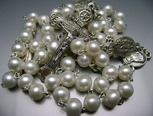 elegantmedical HANDMADE CATHOLIC Natural White AAA 8-9MM Real Pearl Pearls SEVEN SORROWS ROSARY & Relic cross Necklace Box