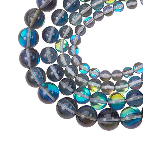 PH PandaHall 1 Box (About 80pcs) 4 Sizes Round Synthetical Moonstone Beads Aura Iridescent Crystal Glass Beads for DIY Necklace Bracelet Earrings, Hole: 1mm (6mm, 8mm, 10mm, -