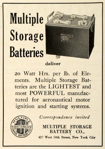 1918 Ad Multiple Storage Battery Co Logo Aircraft Aeronautical Motor Ignition   Original Print Ad