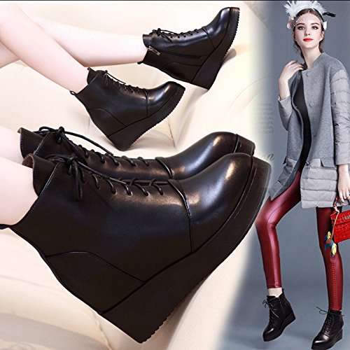 Lacets Fashionista Des Des À Bottes Bottes Femmes Coins Martin Cuir Britannique En Style KHSKX Pour Bottes black Dans UZqRwxW