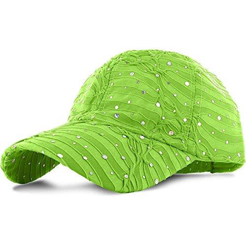 Easy-W Lime_100% Polyester Glitter Baseball Cap Golf Hat Rhinestone by Easy-W