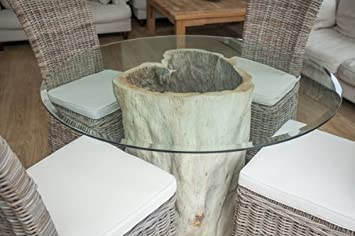 Saturday Kitchen Driftwood Style Circular Java Root Dining Table With Four Natural Wicker Chairs