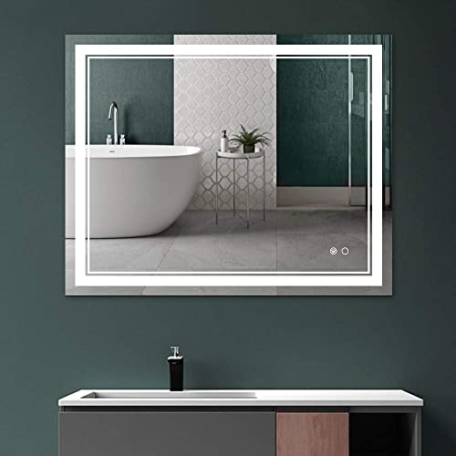 Keonjinn 40 x 32 Inch Bathroom LED Vanity Mirror Dimmable Anti-Fog Wall Mounted Large Mirror Vertical Horizontal
