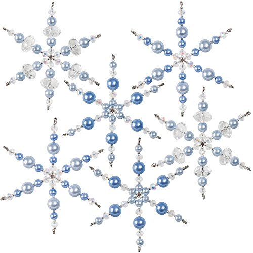 Snowflake Ornaments Beaded (Solid Oak NC004 Crystal/Blue Snowflakes Ornament Kit)