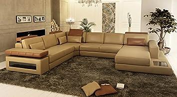 Couch u form leder  COUCH LEDER braun u Form SOFA AUGSBURG: Amazon.de: Küche & Haushalt