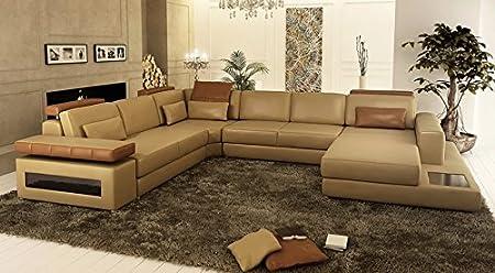 Couch Leder Braun U Form Sofa Augsburg Amazon De Küche