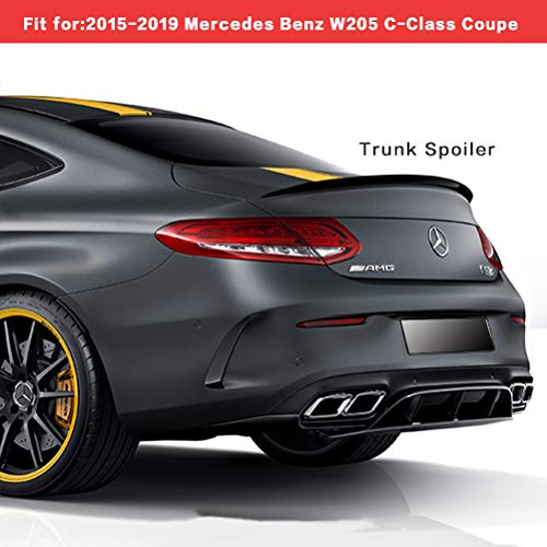 YOUNGERCAR Trunk Spoiler Fits for 2015-2019 Mercedes Benz W205 C Class C180 C200 C250 C300 C63 C43 2 Door Coupe Carbon Fiber Coating ABS Rear Trunk Wing
