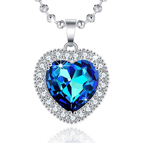 Kids Diamond Boy Charm - The Blue Heart of The Sea Necklace,A Piece of My Heart Is in Heaven Necklace Jewelry Gifts for Women Jewelry Pendants Necklaces Jewelry Anniversary Valentines Jewelry Necklace Pendants for Women