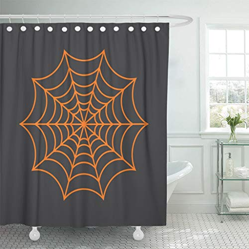 Emvency Fabric Shower Curtain with Hooks Halloween Spider