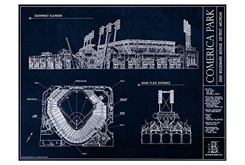 (Comerica Park Blueprint Style Poster (Unframed, 18