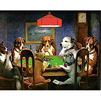 Vintage Picture Of Dogs Playing Cards