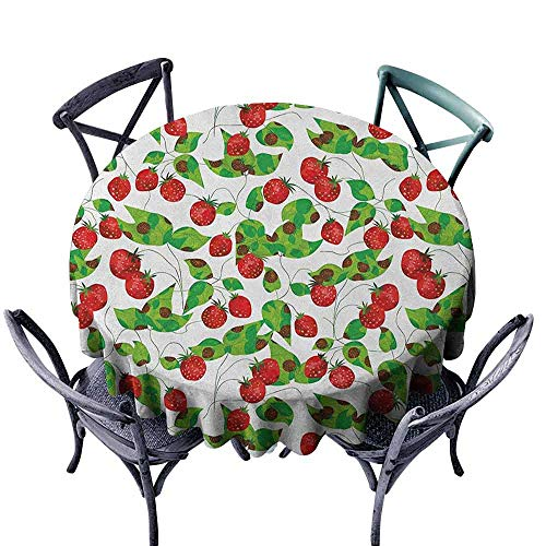 ScottDecor Microfiber Round Tablecloth Jacquard Tablecloth Fruits,Summer Vibes with Strawberry Branch Garden Leaf Nature Joyful Season Print, Red Fern Green White Diameter 50