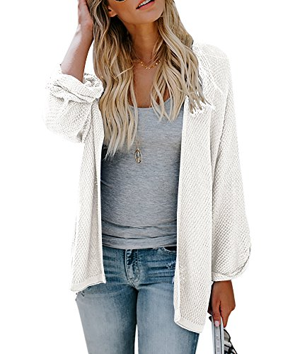 Cardigan Knit Sweater Long (Umeko Womens Cardigans Casual Knit Open Front Lightweight Long Boyfriend Cardigan Sweaters (Medium, White))