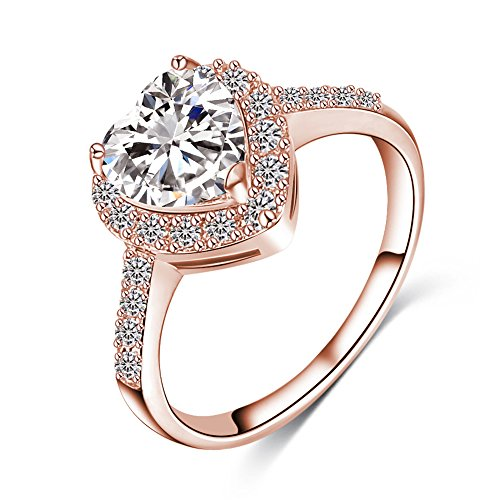 LuckyWeng New Exquisite Fashion Jewelry Rose Gold Heart-Shaped Austrian Crystal Diamond Ring