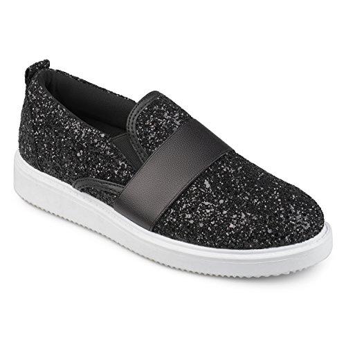 Journee Collection Womens Glitter Slip-on Sneakers Black rMudioczvE