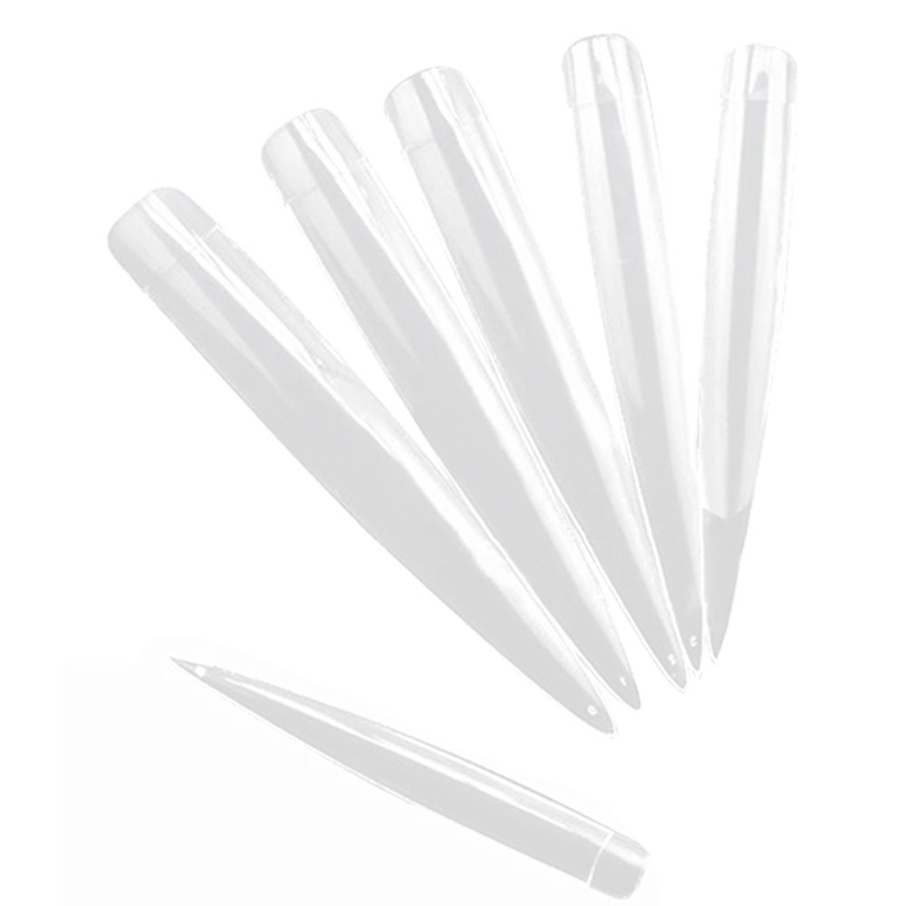 Elisona-20 PCS Women Ladies Home Salon ABS French Style Long False Artificial Nail Art Tips Decorations Clear