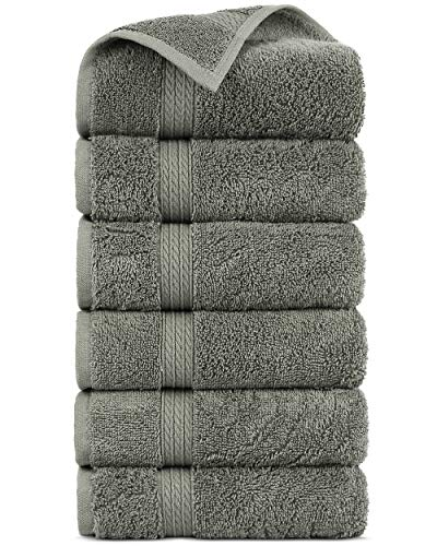 Premium Turkish Cotton 4-Striped Border Eco-Friendly and Long Stable Hand Towel (Gray, Set of 6)