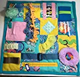 Memory Loss Fidget Quilt, Dementia Toy, Alzheimer's Blanket. Aqua & Yellow with Fuzzy Circle