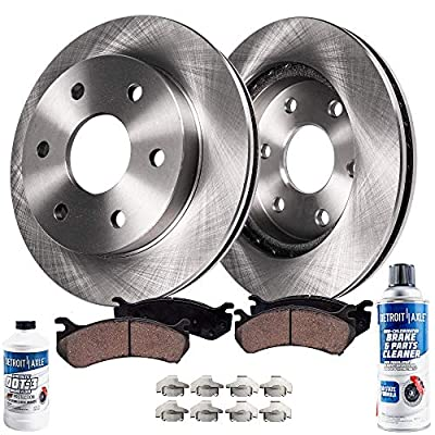 Detroit Axle - Pair (2) 320mm Front Disc Brake Kit Rotors w/Ceramic Pads w/Hardware & Brake Kit Cleaner & Fluid for 2005 2006 Infiniti QX56/ Nissan Armada/Titan - FITS BOSCH FRONT CALIPER: Automotive
