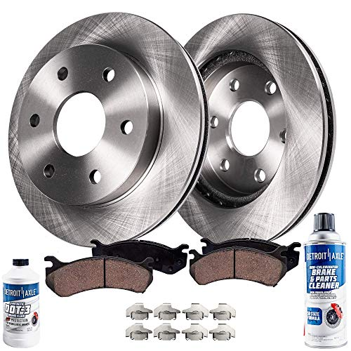 Detroit Axle - Pair (2) Front Disc Brake Rotors w/Ceramic Pads w/Hardware & Brake Cleaner & Fluid for 05-17 Nissan Frontier - [05-12 Pathfinder V6] - 05-15 Xterra - [09-12 Suzuki Equator 6 Cyl.]