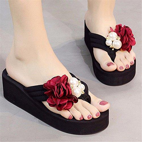f dolce con scarpe tacco alto ladies' pantofole scivolose spiaggia frescura FLYRCX fiori fashion Estate scarpe spiaggia le da clip outdoor xqx1HYan