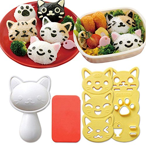 Hofumix Bento Accessories Sushi Mold Rice Ball Mold Cartoon Cat Pattern Sushi Bento Nori Kitchen Rice Decor Kits Sandwich DIY Kitchen Tools for Baby Kids Meal ()