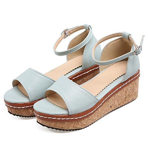 Ankle Strap TAOFFEN 2 Blue Heels Women Sandals Fashion Light ZqpxFUP