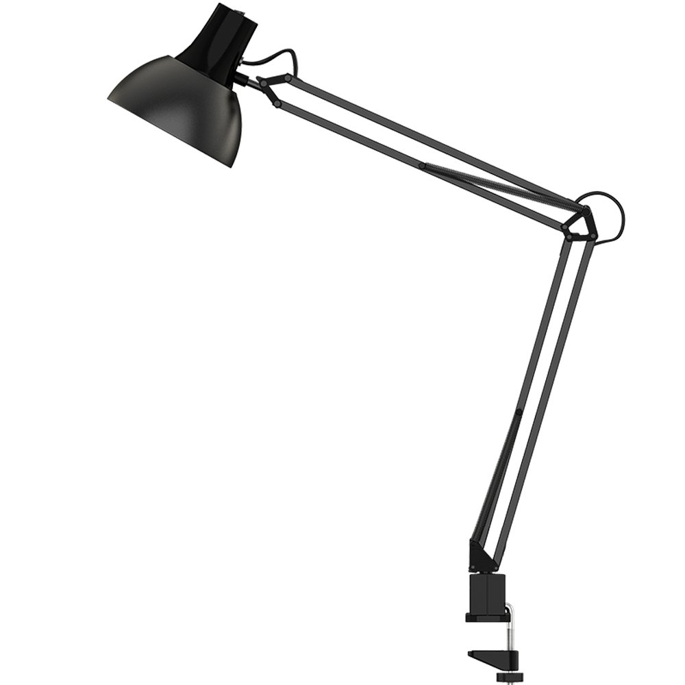 ToJane Table Lamps for Living Room/Bedroom,Architect Swing Arm Clip on Desk Lamp,2 Clamp Mounts,Black(Bulb Sold Separate)