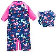 Zulaniu Baby Girls One-Piece Rash Guard Sunsuit Swimsuit Swimwear UPF 50+