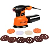 Enertwist Random Orbit Sander - 5 Inch 6 Variable Speed Orbital Sander with Dust Box, 6 Sandpaper and 4 Buffer Polisher Pads for Home Decoration and DIY