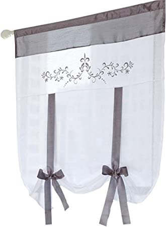 ZebraSmile Ribbon Tie Up Tab Top Balloon Curtain Semi Sheer Kitchen Balloon Window Curtain Roman Curtain Lifable Voile 24 x 55 Inch Red