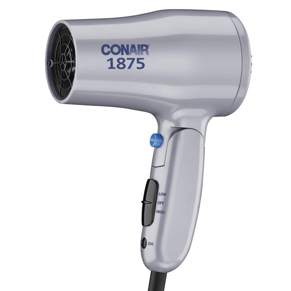 Conair 1875 Watt Compact Hair Dryer with Folding Handle, Dual Voltage Travel Hair Dryer, Grey by Conair