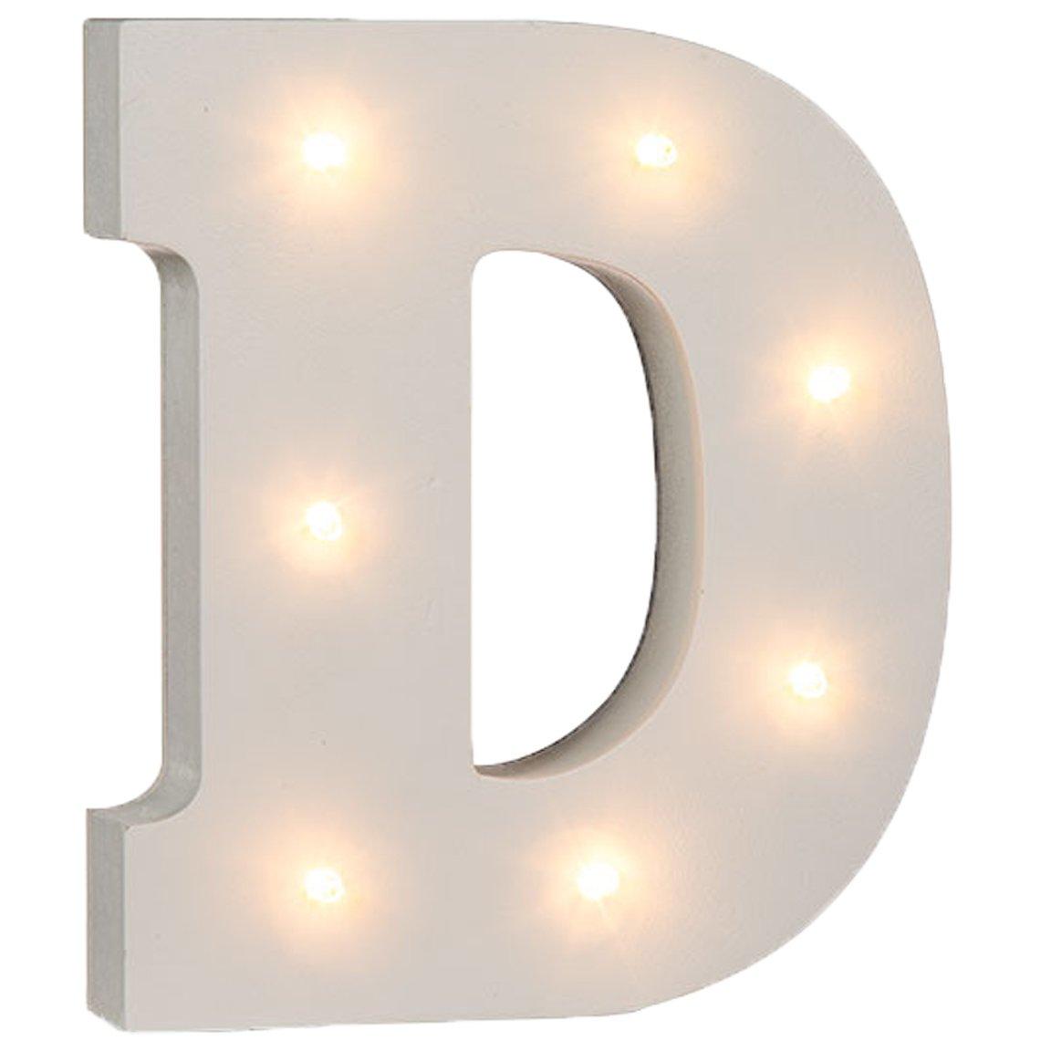 Bada Bing LED Holz Buchstaben D Alphabet Tischlampe Dekoleuchte Wei/ß D
