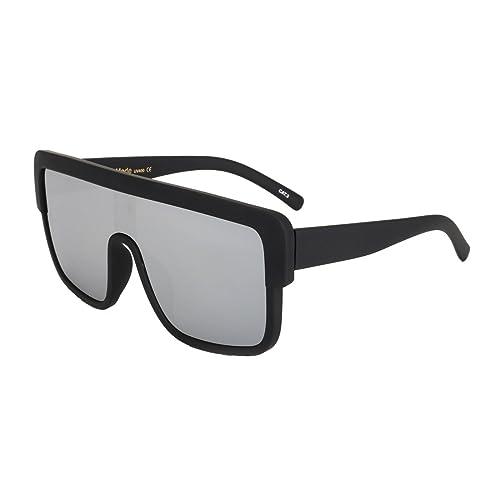 f30b660b3 ROYAL GIRL Premium Oversized Sunglasses Women Flat Top Square Frame Shield  Fashion Glasses (Silver Mirror
