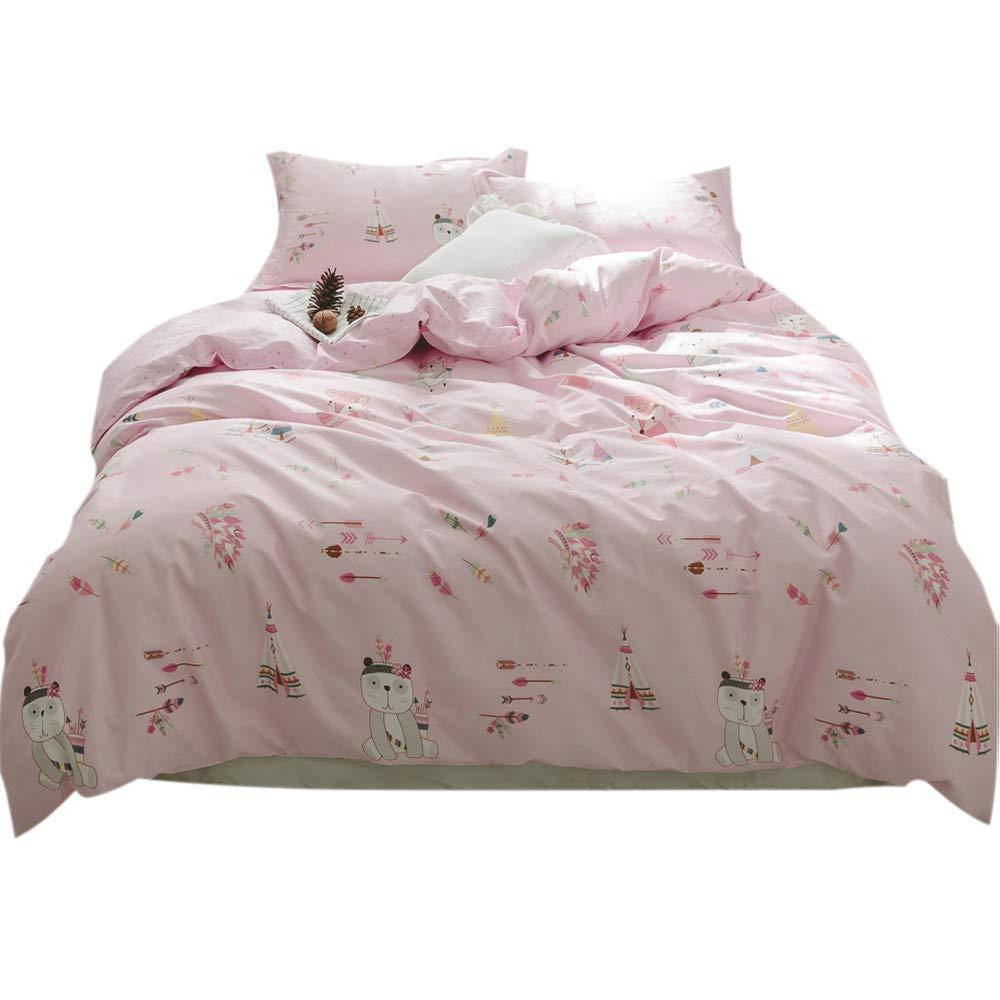 FenDie Cute Animal Fox Bear Pattern Kids Duvet Cover, Reversible Pink Girls Bedding Set Lightweight Star Duvet Cover, Twin Feather Arrow Printed Duvet Cover Set 3 Piece - No Comforter
