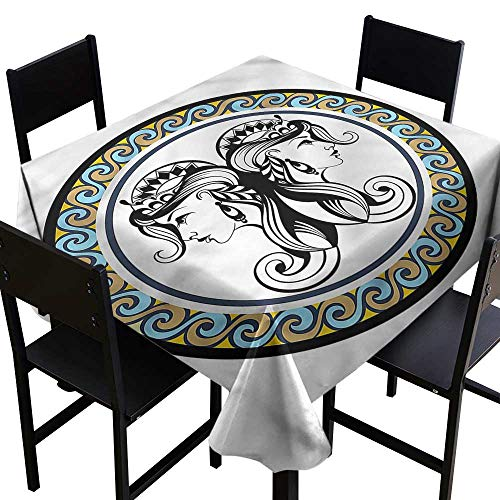 Zodiac Gemini Resistant Table Cover Antique Sisters Party Decorations Table Cover Cloth 50 x 50 Inch