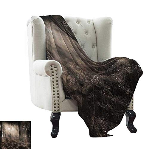 LsWOW Baby Blanket Gothic,Photo of Dark Forest Scenery