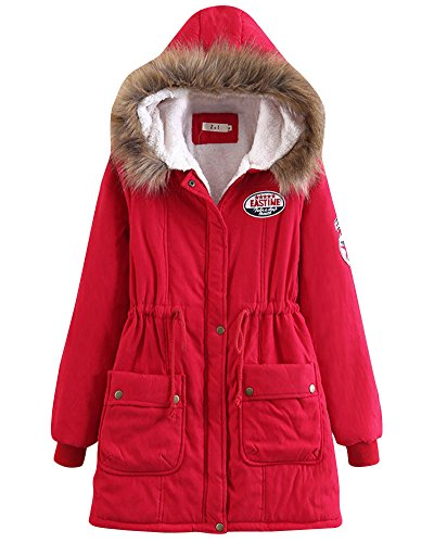 Coat Warm Hood Thick Women Cardigan Moollyfox Parka Red Long Sleeve Long Jacket Outwear dpWSnp0x