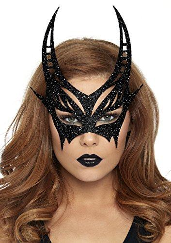 Half Halloween Costumes (Leg Avenue Women's Glitter Devil mask, Black, One Sizes Fit)